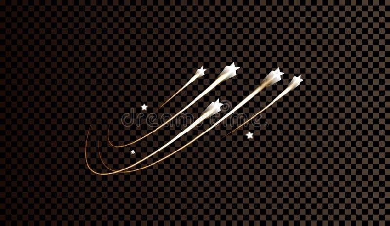 Het abstracte vector magische lichteffect van de gloedster met neononduidelijk beeld gebogen lijnen stock illustratie
