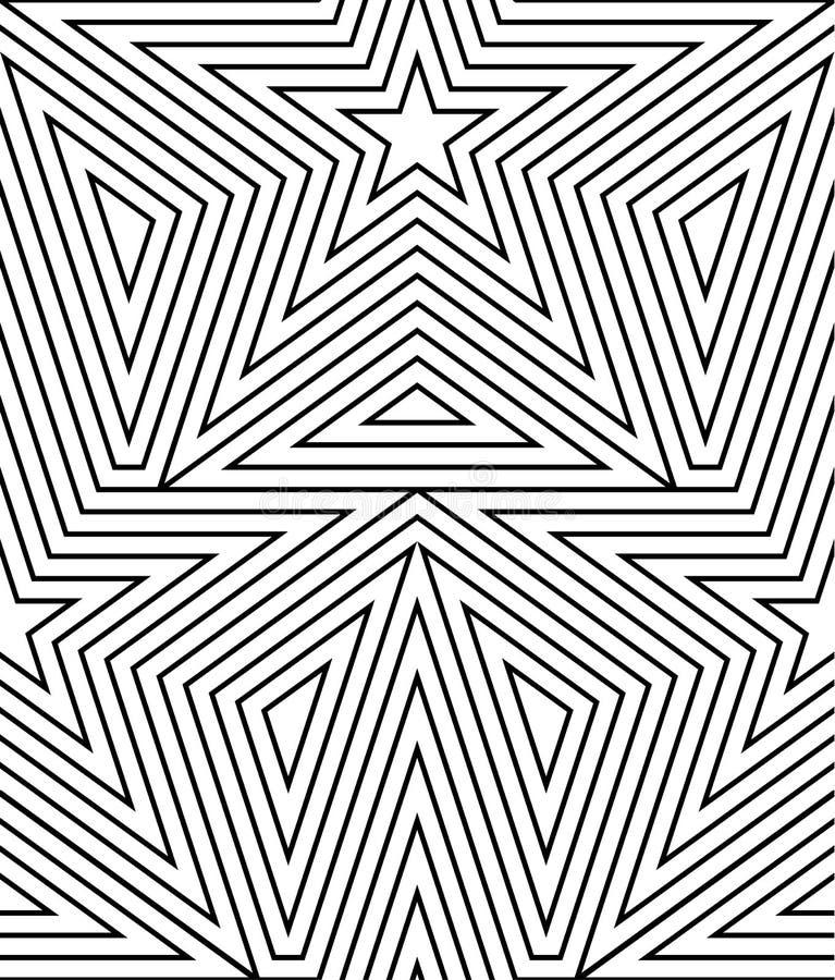 Het abstracte vector naadloze op patroon van de kunstster Lijnart. vector illustratie