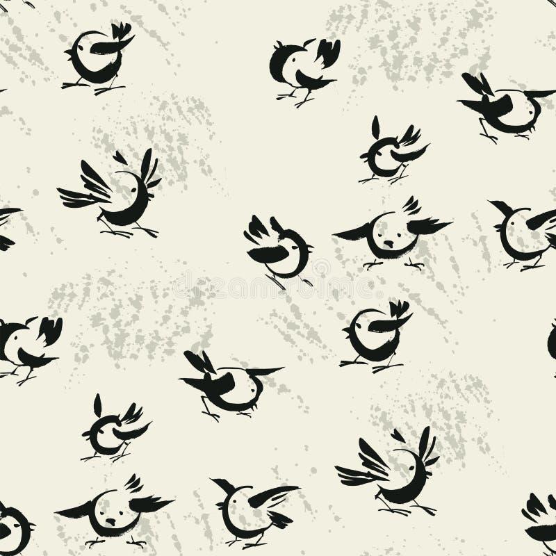 Het abstracte vector naadloze patroon van de vogelsschets stock illustratie