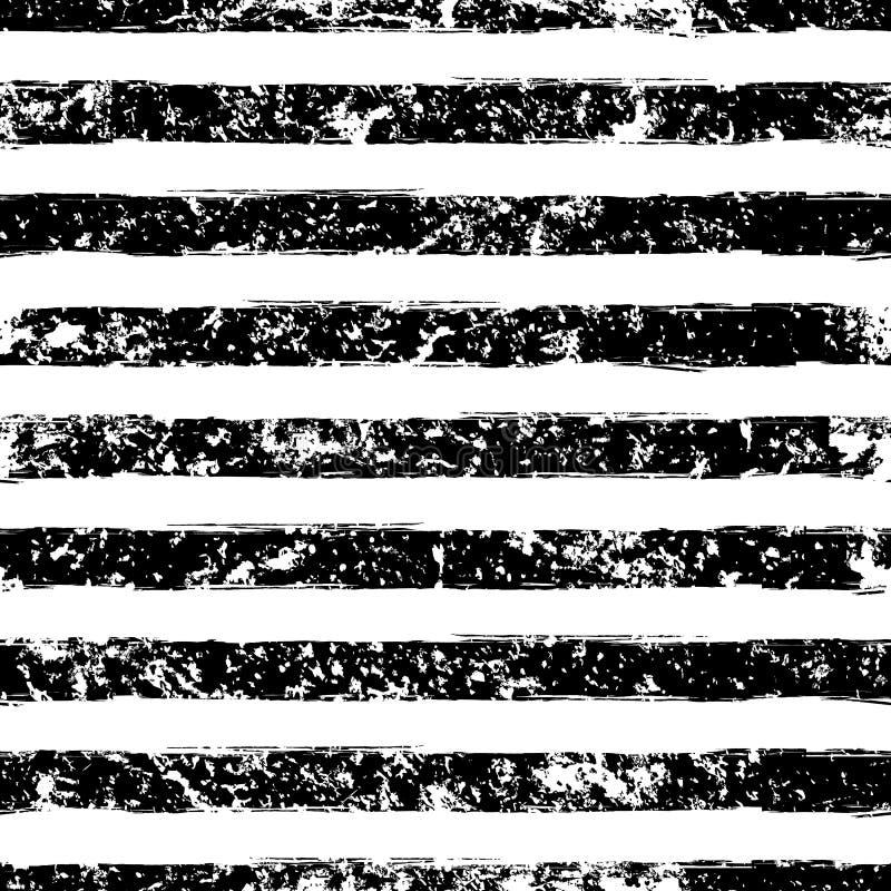 Het abstracte vector naadloze patroon van de waterverfstreep grunge zwart stock illustratie