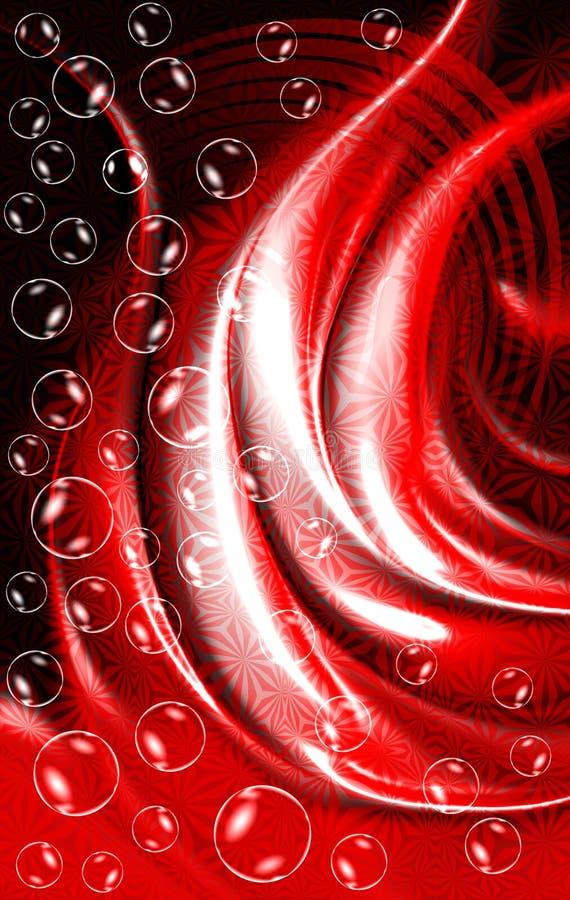 Het abstracte vectorrood aan zwarte stelde golvende geweven achtergrond met bellen in de schaduw, vectorillustratie stock illustratie