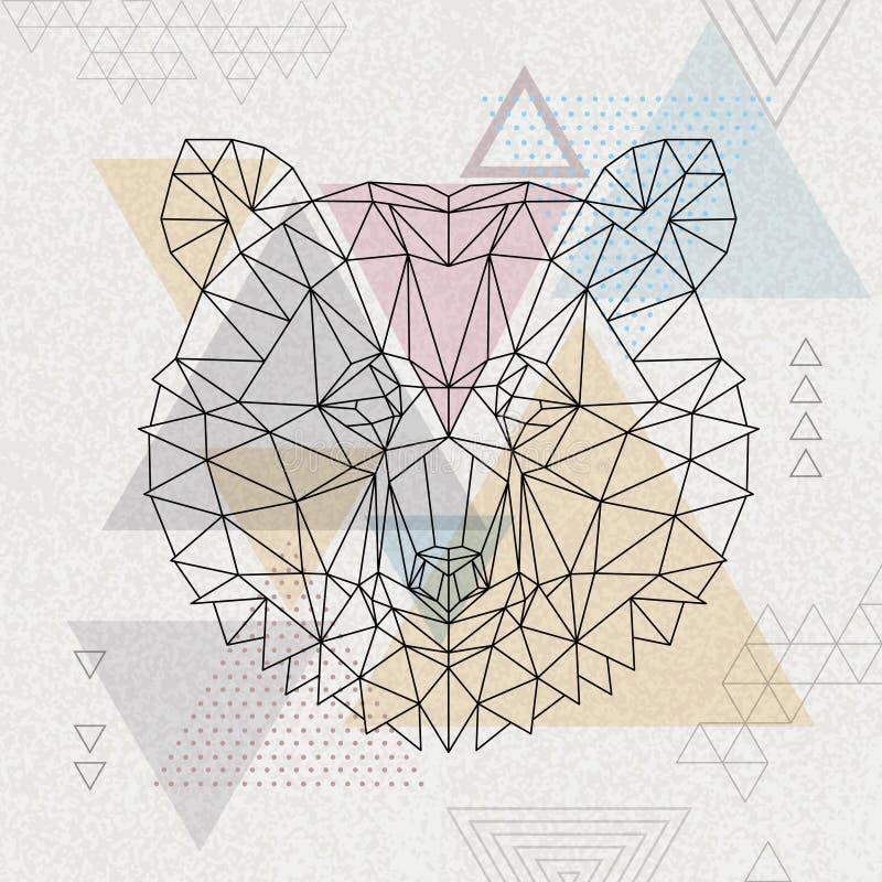 Het abstracte veelhoekige tirangledier draagt Hipsterdier vector illustratie