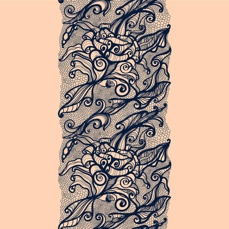Het abstracte Verticale Naadloze Patroon van het Kantlint vector illustratie