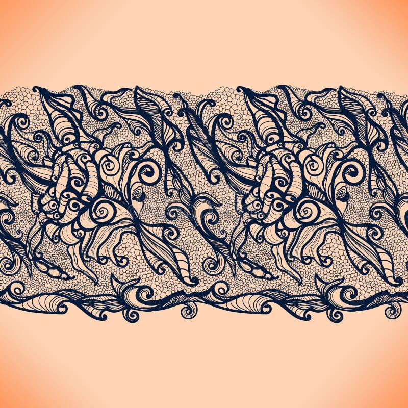Het abstracte Verticale Naadloze Patroon van het Kantlint stock illustratie