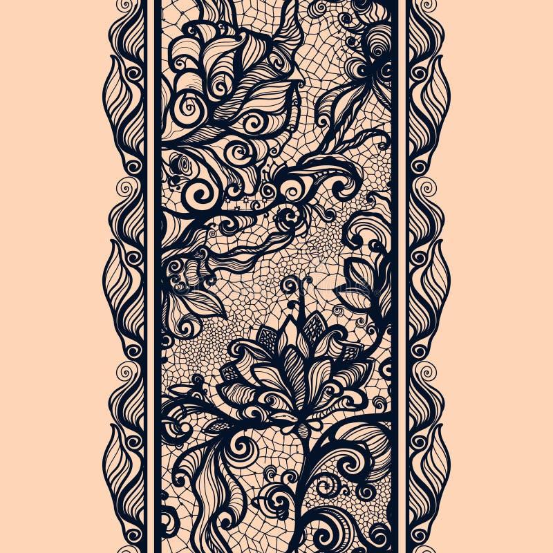 Het abstracte Verticale Naadloze Patroon van het Kantlint royalty-vrije illustratie