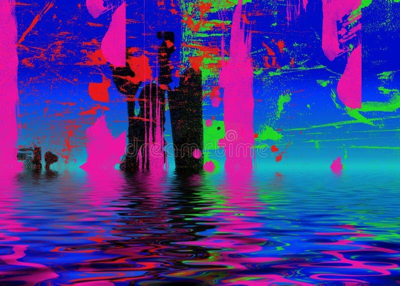 Het abstracte water schilderen stock illustratie