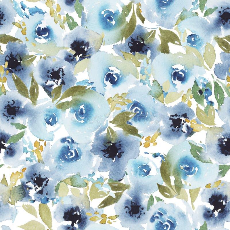 Het abstracte waterverf bloemenpatroon met blauw nam toe stock illustratie