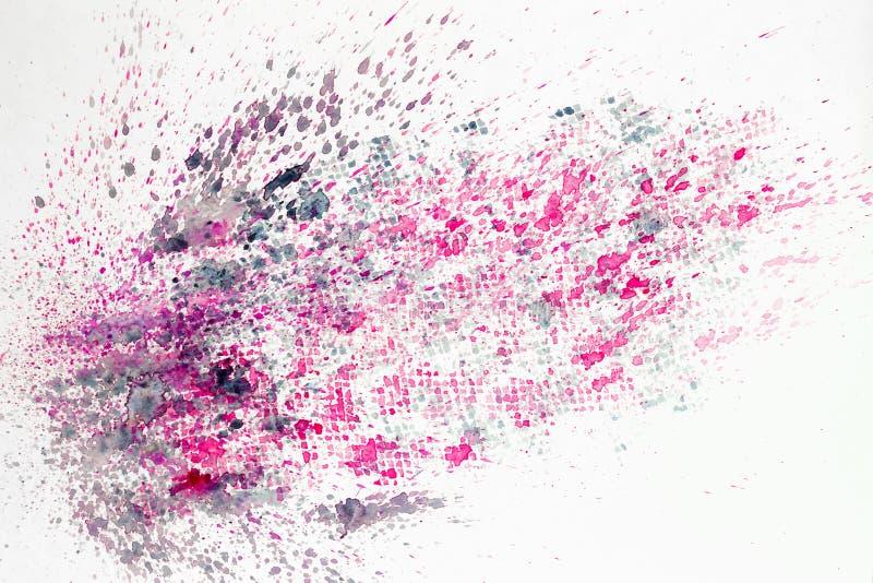 Het abstracte waterverf kleurrijke schilderen als achtergrond met nevel, vlekken, plonsen Hand op document korreltextuur die word royalty-vrije illustratie