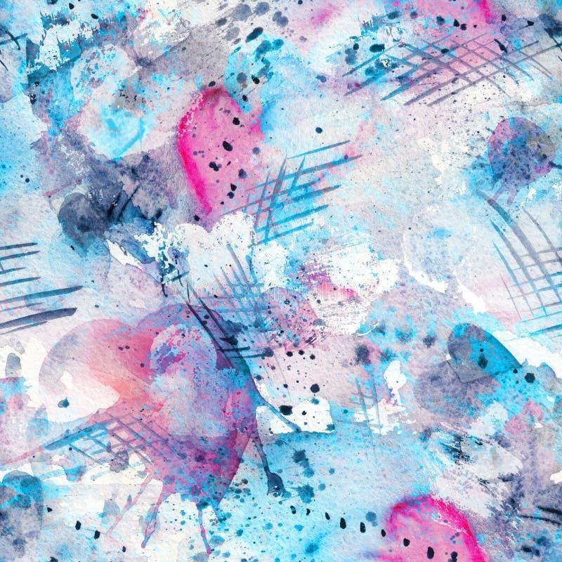 Het abstracte waterverf naadloze patroon met ploetert vlekken, lijnen, dalingen, plonsen en harten royalty-vrije illustratie