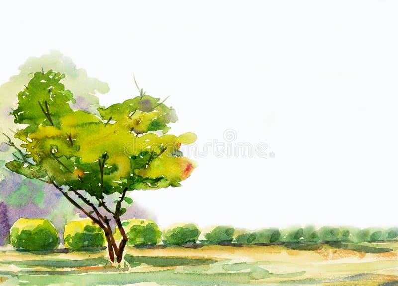 Het abstracte waterverf schilderen kleurrijk van één boom in de tuin royalty-vrije illustratie