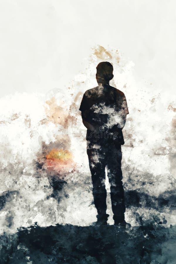 Het abstracte waterverf schilderen van de bevindende mens en zonsondergang stock illustratie