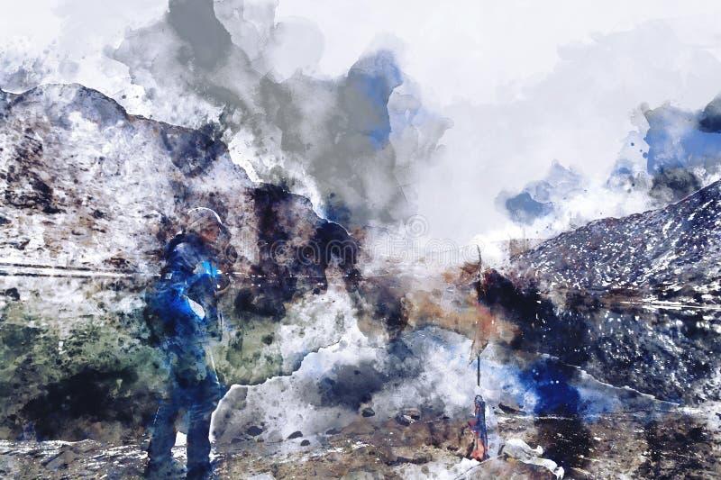 Het abstracte waterverf schilderen van de bevindende mens met bergachtergrond, het digitale waterverf schilderen stock illustratie