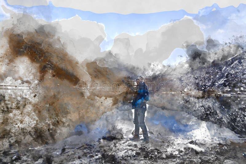 Het abstracte waterverf schilderen van de bevindende mens op berg, het digitale waterverf schilderen vector illustratie
