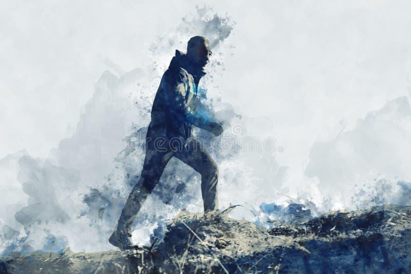 Het abstracte waterverf schilderen van de lopende mens op berg, het digitale waterverf schilderen stock fotografie