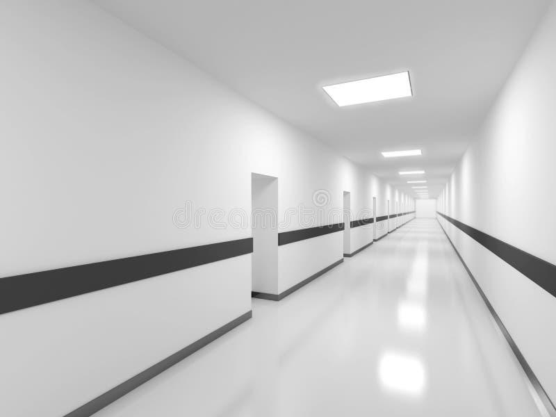 Het abstracte witte binnenland van de bureaugang royalty-vrije illustratie