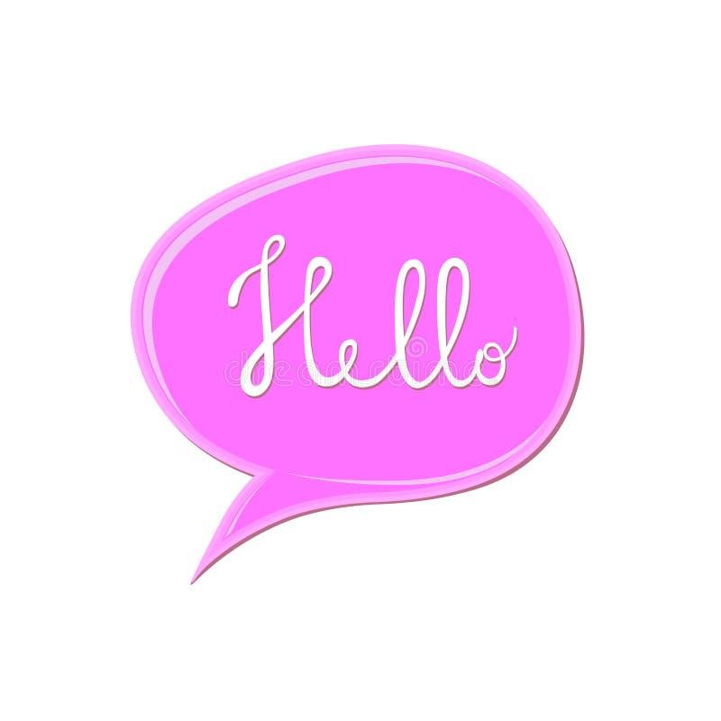 Het abstracte witte teken van ` Hello ` over het roze pictogram van de toespraakbel Kauwgomvlek op witte achtergrond De daling va royalty-vrije illustratie