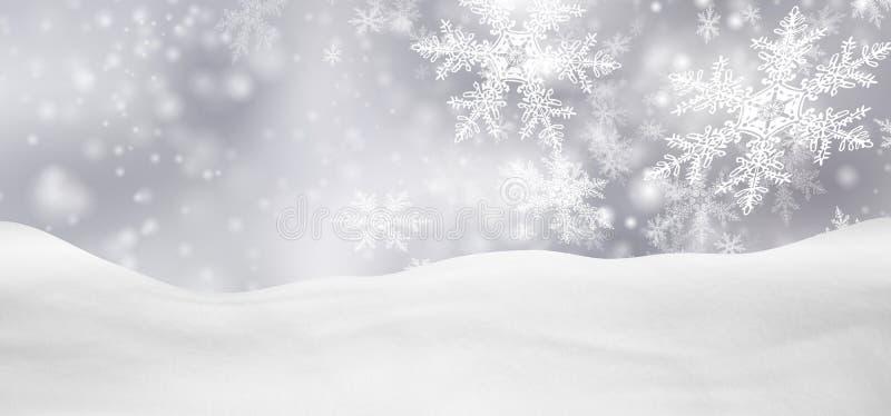 Het abstracte Zilveren Landschap van de Achtergrondpanoramawinter met Dalende Sneeuwvlokken royalty-vrije stock afbeelding