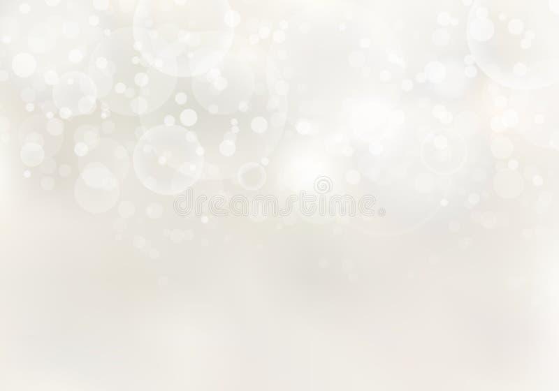 Het abstracte zonlicht vertroebelde lichtbruine achtergrond met bokehlichteffect en exemplaarruimte vector illustratie