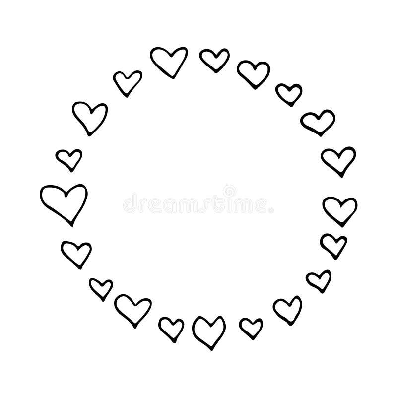 Het abstracte zwart-wit hand getrokken vector ronde kader met harten, perfectioneert voor de dagontwerp van de valentijnskaart royalty-vrije illustratie