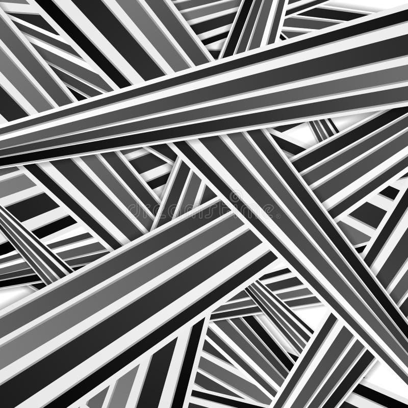 Het abstracte zwart-witte gestreepte patroon van technologie royalty-vrije illustratie
