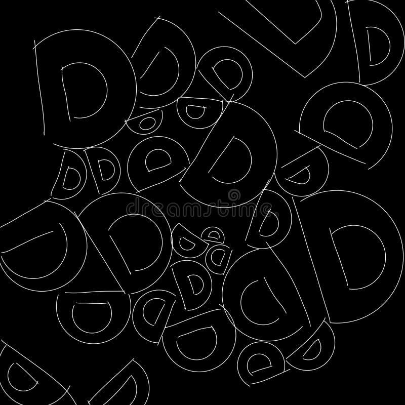 Het abstracte zwart-witte patroon van D van de alfabetbrief als illustratieachtergrond en behang royalty-vrije illustratie