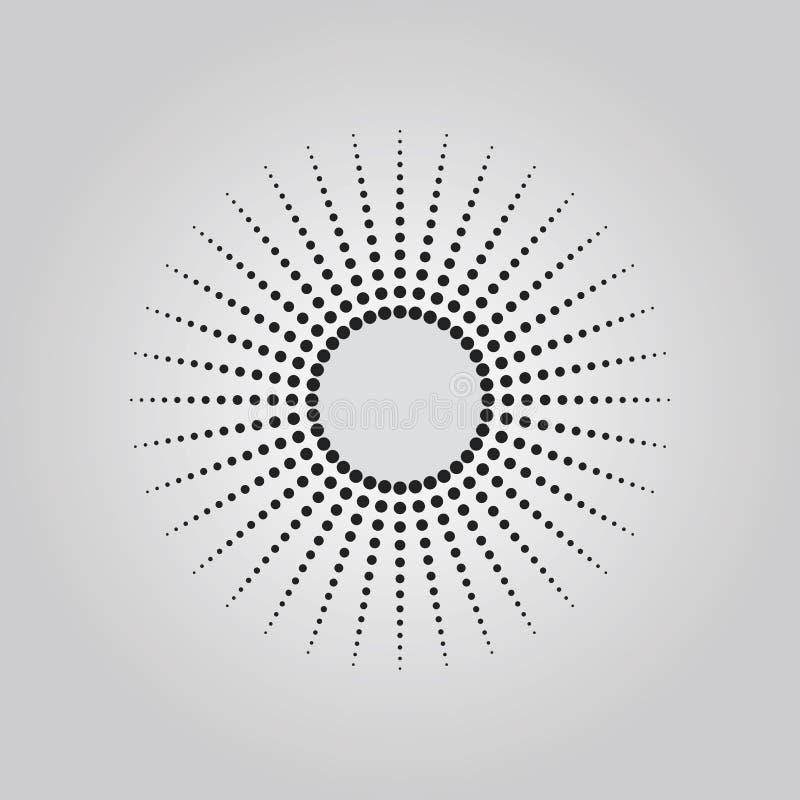 Het abstracte zwarte effect van de punten halftone techniek in vorm van het element van het de straalontwerp van de cirkelzon stock illustratie