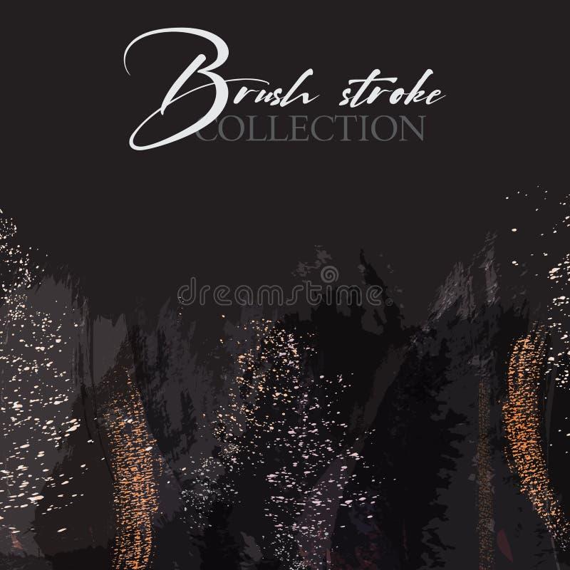 Het abstracte zwarte effect van Grunge Pattina met Gouden Retro Textuur Schitter folie met de In Elegante binnen gemaakte Achterg royalty-vrije illustratie
