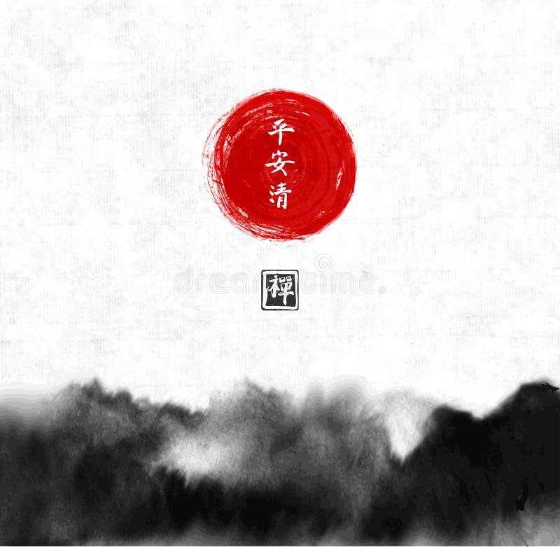 Het abstracte zwarte inktwas schilderen in de Aziatische stijl van het Oosten De textuur van Grunge Bevat hiërogliefen - vrede, k stock illustratie