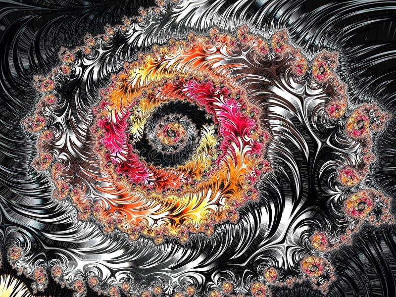Het abstracte zwarte, rode en gele geweven spiraalvormige fractal 3d patroon, geeft voor affiche, ontwerp en vermaak terug Achter stock illustratie