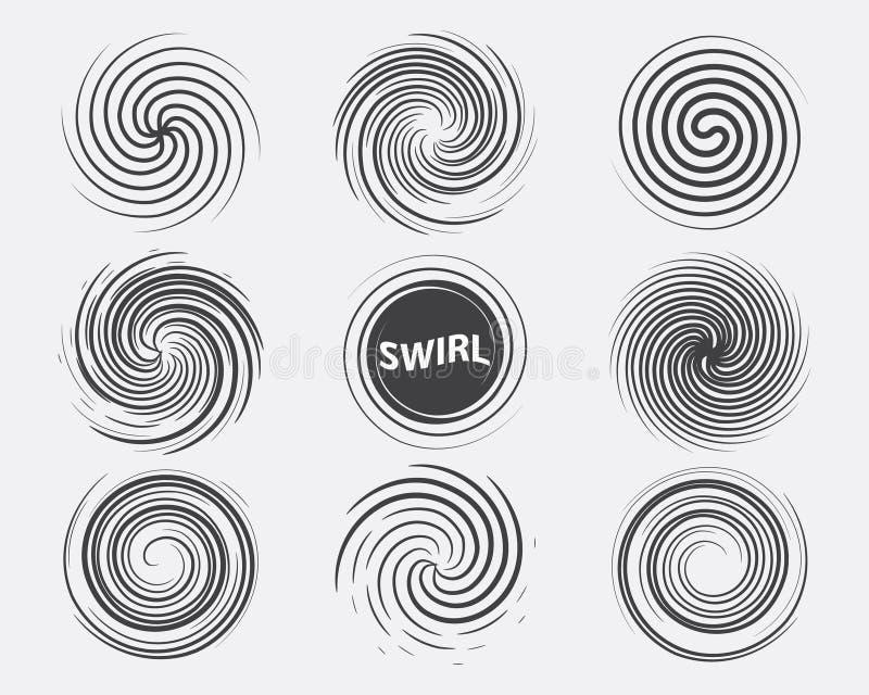 Het abstracte zwarte witte pictogram van de wervelings vastgestelde dynamische stroom vector illustratie