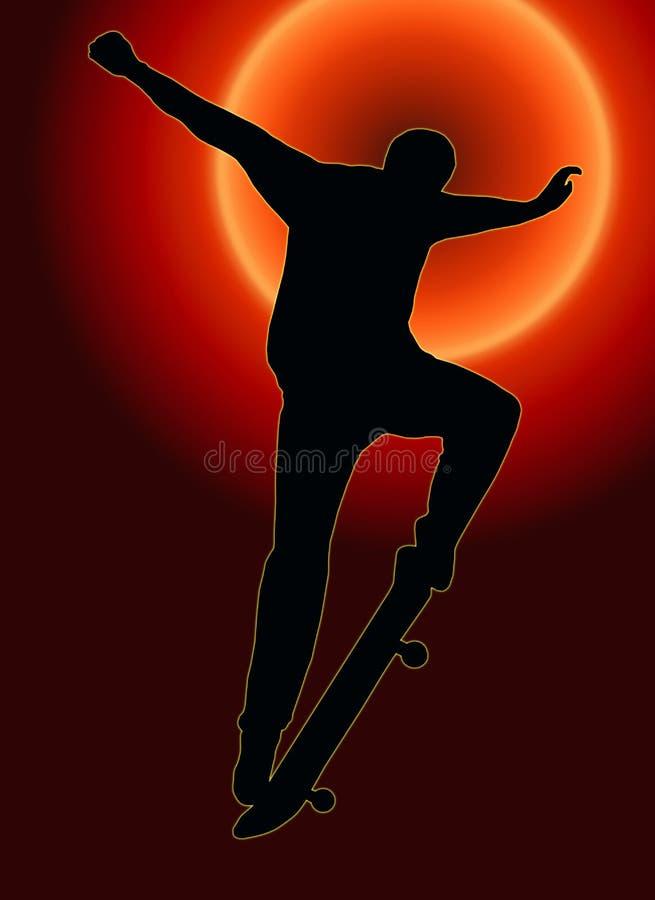 Het Achter Met een skateboard rijden Nosegrind van de zonsondergang stock illustratie