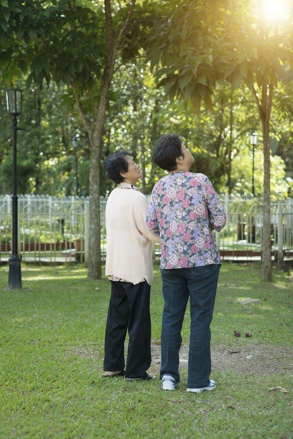 Het achtermenings Aziatische bejaarden lopen stock foto