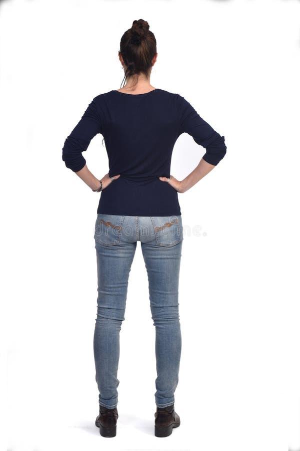 Het achtermeningsportret van een vrouw overhandigt op de heupen stock fotografie