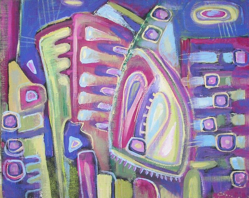 Het acryl kleurrijke abstracte schilderen Artistieke Achtergrond canvas royalty-vrije illustratie