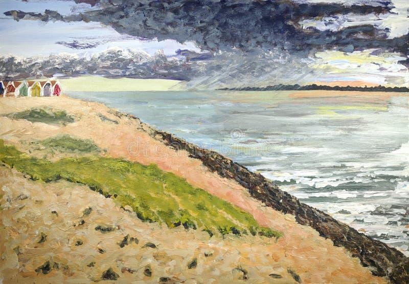 Het acryl schilderen van een zonsondergang over het overzees stock illustratie