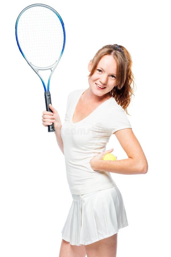 Het actieve jonge meisje houdt van tennis, portret op wit te spelen stock foto