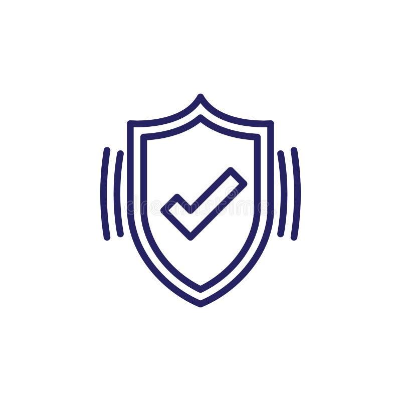 Het actieve pictogram van de beschermingslijn, het vectorteken van het Schildoverzicht, lineair die stijlpictogram op wit wordt g stock illustratie