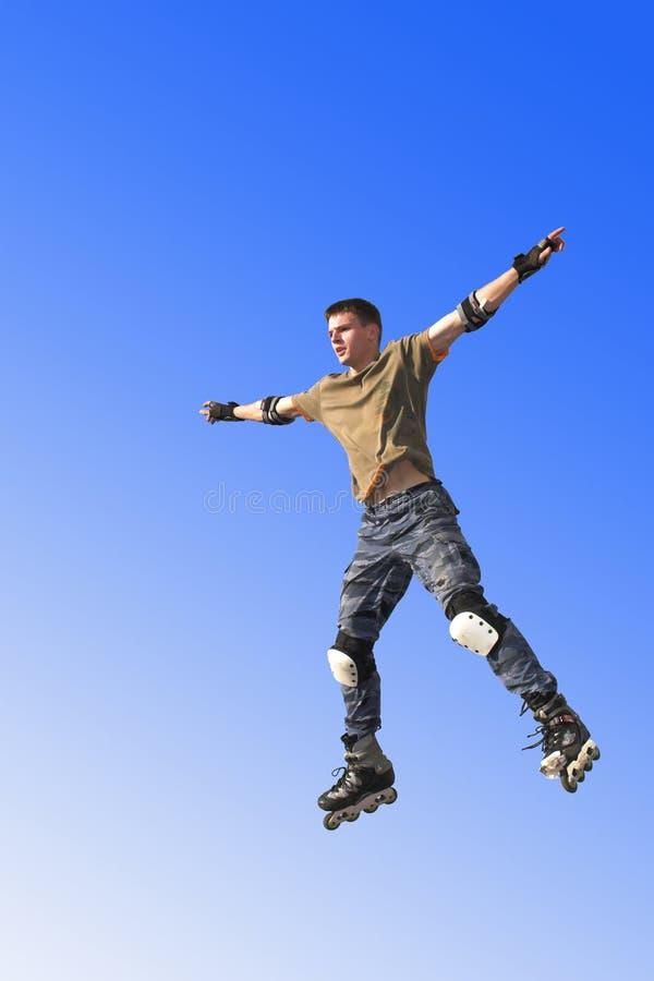 Het actieve roljongen springen royalty-vrije stock afbeelding