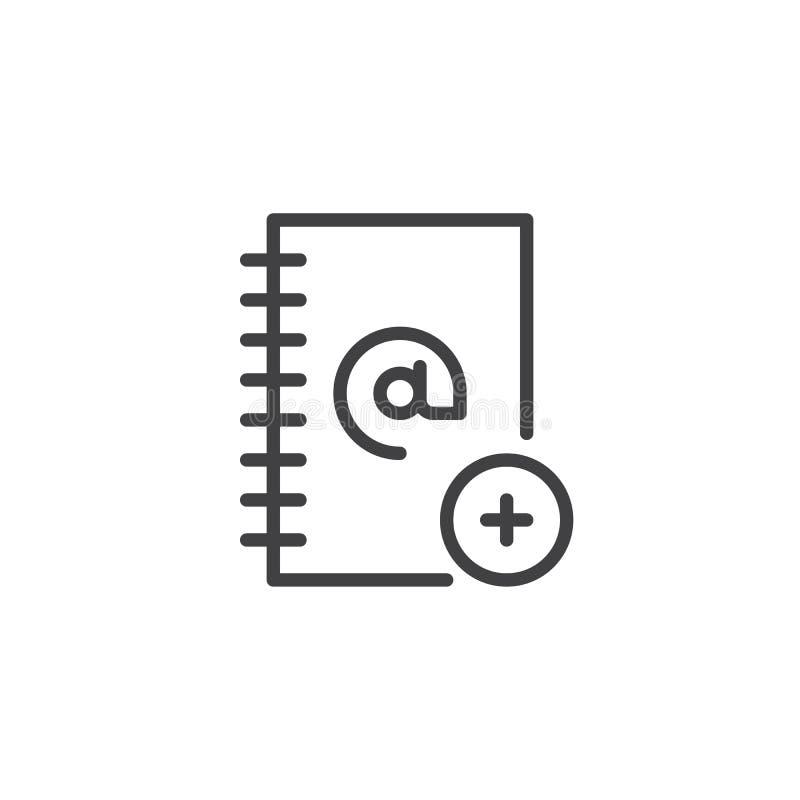 Het adresboek voegt lijnpictogram toe royalty-vrije illustratie