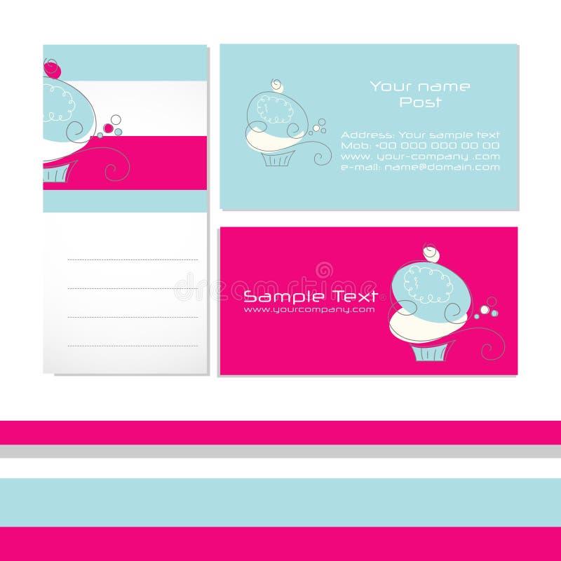 Het adreskaartje van Cupcake stock afbeeldingen