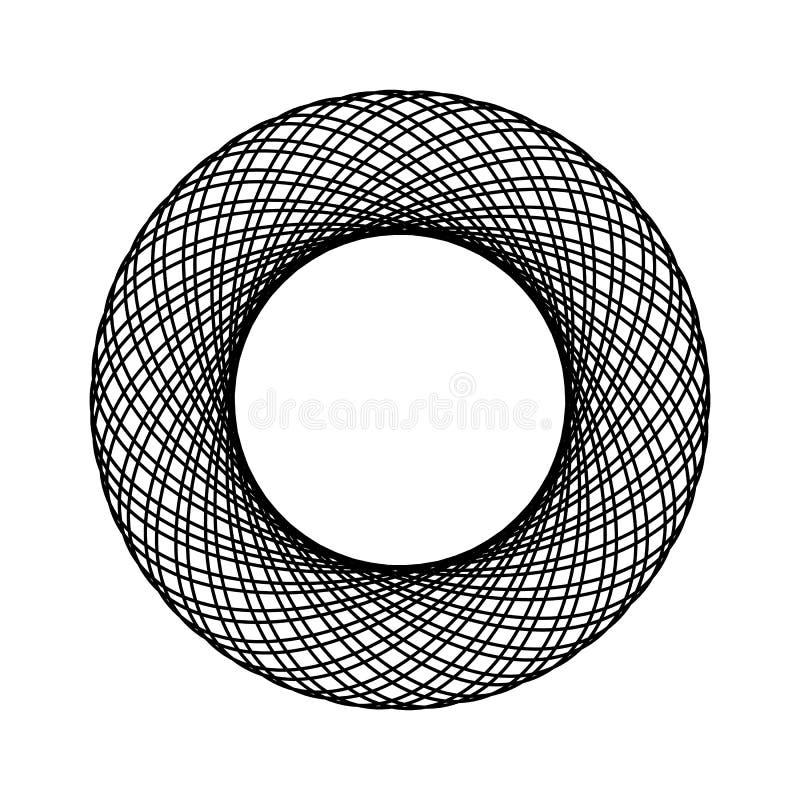 Het adreskaartje van de lijnkunst met het zwarte kader van de het Embleemcirkel van de lijnkunst In illustratie Geïsoleerd vector stock illustratie