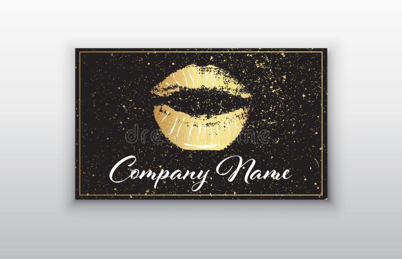 Het adreskaartje van de make-upkunstenaar Adreskaartjesmalplaatje met gouden lippendruk en zwarte borstel royalty-vrije illustratie