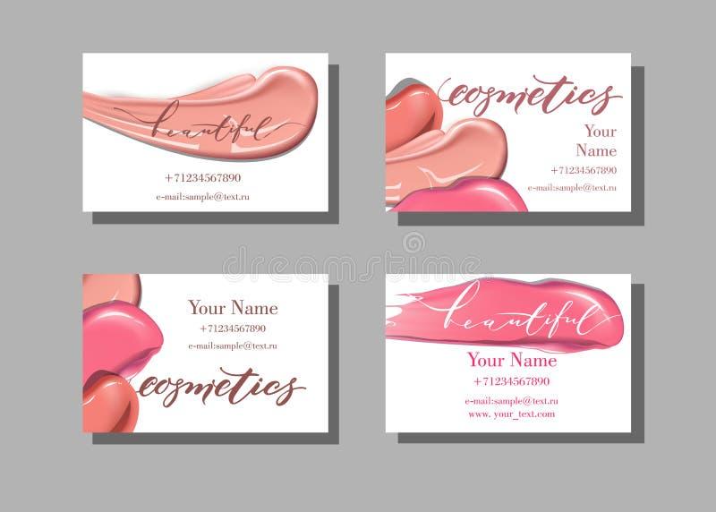 Het adreskaartje van de make-upkunstenaar Vectormalplaatje met het patroon van make-uppunten - lippenstift Malplaatjevector stock illustratie