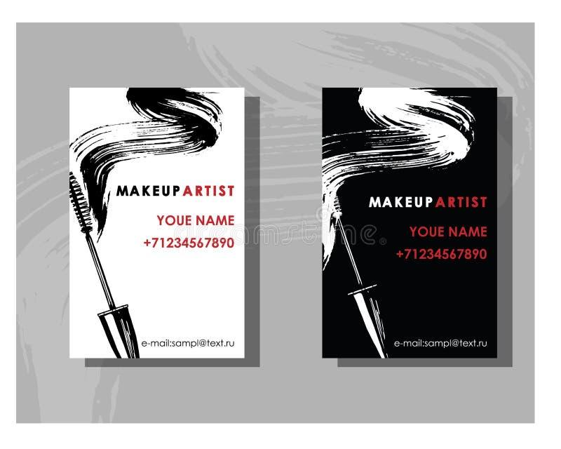Het adreskaartje van de make-upkunstenaar Vectormalplaatje met het patroon van make-uppunten - mascara Vector stock illustratie
