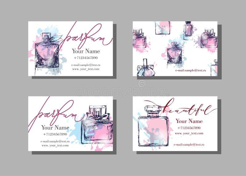 Het adreskaartje van de make-upkunstenaar Vectormalplaatje met Mooie parfumfles Manier en schoonheidsachtergrond vector illustratie