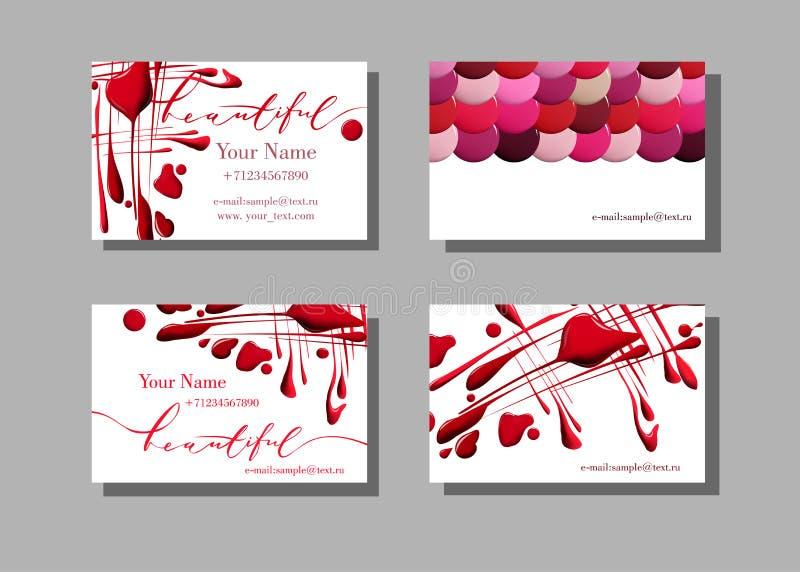 Het adreskaartje van de make-upkunstenaar Vectorpatroon met kosmetische elementen van de Dalingen van nagellak Vector Malplaatje stock illustratie
