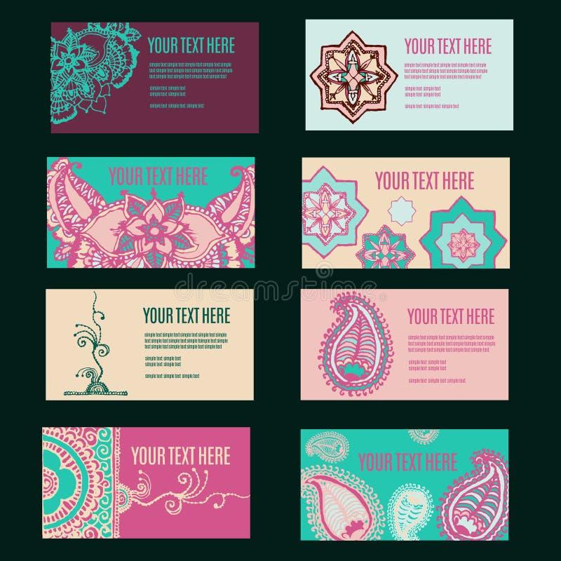 het adreskaartjeinzameling van het ornamentontwerp met bloementextuur stock illustratie