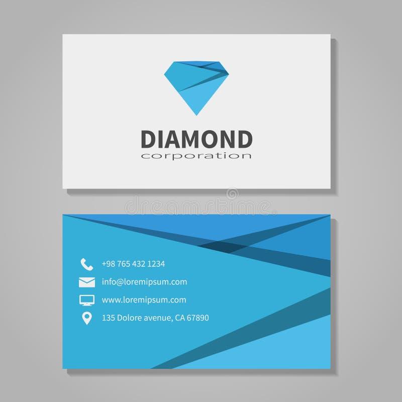 Het adreskaartjemalplaatje van het diamantbedrijf royalty-vrije illustratie