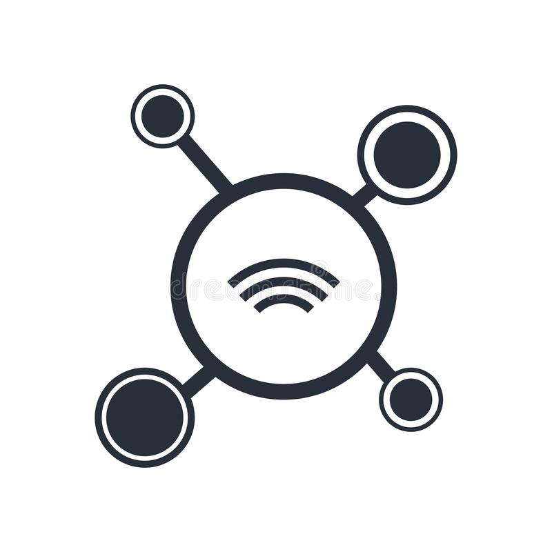 het adverterende teken en het symbool van het netwerkenpictogram vectordie op witte achtergrond, het embleemconcept wordt geïsole stock afbeelding