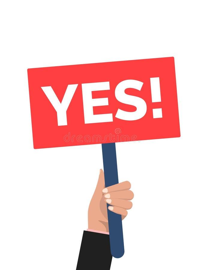 Het advies van de handholding ja De mens zegt ja protestteken Overwinningsaanplakbiljet ja royalty-vrije illustratie